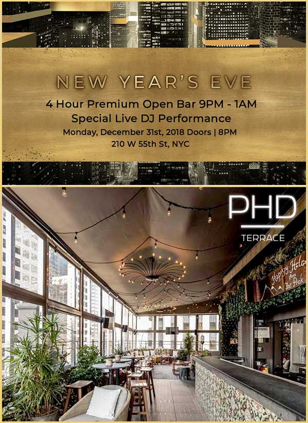 PHD Terrace at Dream Hotel NYC New Years Eve 2019