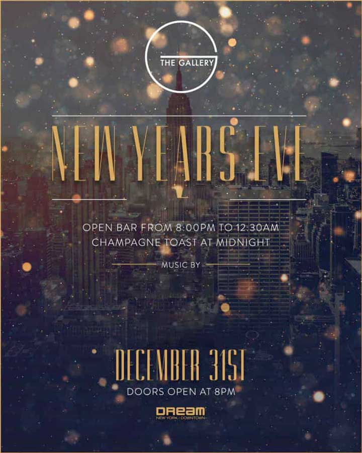 Times Square New Years Eve at The Gallery at Dream Hotel NYC | NYC New Years Eve 2021