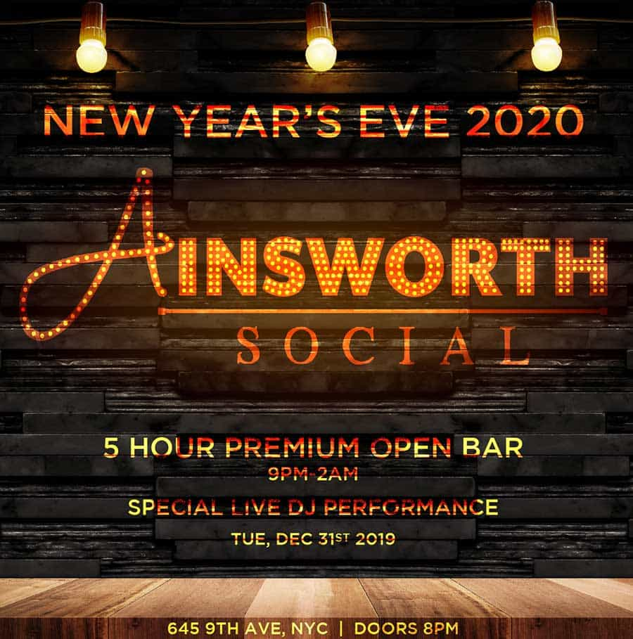 Times Square New Years Eve at Ainsworth Social NYC | NYC New Years Eve 2021