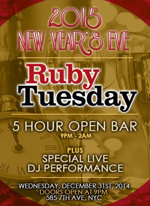 Ruby Tuesday Times Square New Years Eve 2015