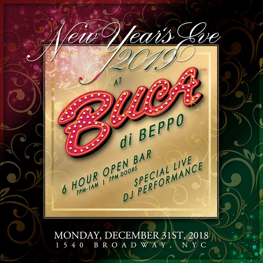 Buca di Beppo Times Square New Years Eve 2019